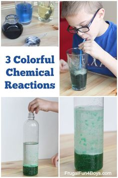 Three different chemical reactions to do with kids. Change the color of water by BLOWING, homemade lava lamp, and disappearing colors! Study Chemistry, Chemistry Experiments, Science Experiments Kids, Teaching Science, Science Education, Science For Kids, Science Activities, Physical Science, Summer Science