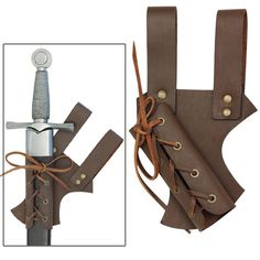 Medieval Hawk Wood Leather Sword Frog Brown