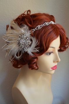 If your 1920s gown is champagne and ivory or has ostrich feathers this headpiece would look stunning. Can be worn together or on their own.
