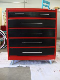 Turn an old dresser into a toolbox dresser for car themed bedroom