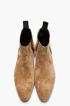 SAINT LAURENT Tan Distressed Suede Chelsea Billy Boots