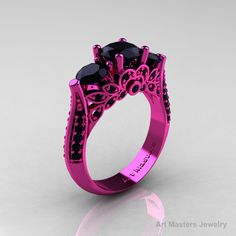 Classic 14K Pink Gold Three Stone Black Onyx Black Diamond Solitaire Engagement Ring, Wedding Ring R200-14KPGBDOX.