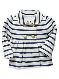 Double-breasted striped jacket - so on trend! Little Girl Fashion, My Little Girl, Toddler Fashion, Boy Fashion, Cute Baby Clothes, Babies Clothes, Babies Stuff, Striped Jacket, Stylish Kids