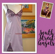 SECRETS IN LACE ~ LAVENDER PURPLE EMBROIDERED SATIN  FULL SLIP  ~  Size MEDIUM   | eBay