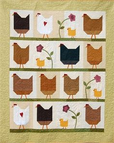 Hen Party by Buttons & Bees --- the part of me that loves farm animals finds this #quilt adorable!