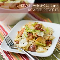This delicious sautéed Cabbage with Bacon and Roasted Potatoes is easy to make and hard to stop eating. A great way to prepare cabbage!