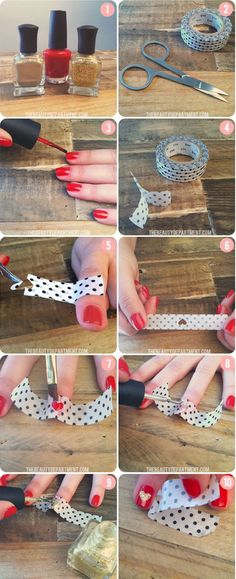 Easy nail art: 7 tutorials to do with scotch tape - I said yes - 7 1 10 0 0 2956 Having pretty nails is undoubtedly feminine and even when you are not necessarily v - Nail Art Hacks, Nail Art Diy, Easy Nail Art, Cool Nail Art, Diy Nails, Fantastic Nails, Romantic Nails, Trendy Nail Art, Manicure E Pedicure
