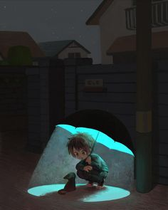 The Magic of Casting your own Little Island - #manga #anime #Cute kid with luminous umbrella