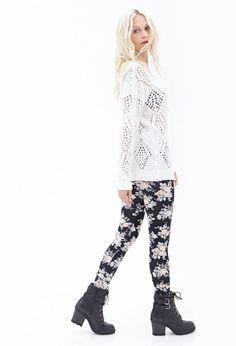 Rose Print Knit Leggings | Forever 21 Canada
