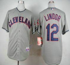 Cleveland Indians Jersey 12 Francisco Lindor Away Gray MLB Cool Base Jerseys