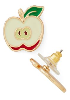 How 'Bout Them Apples? Earrings. Well, would you look at that - a pair of stud earrings thats as adorable as you are! #cream #modcloth
