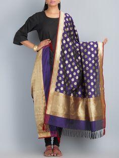 Dupatta   Buy Purple Golden Handwoven Silk Dupatta by Shivangi Kasliwaal Accessories Dupattas Classical Antiquity Benarasi Hand Woven Zari in Online at Jaypore.com