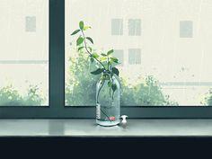 梦幻之旅-窗外下雨了 designed by Mina FZ. Anime Gifs, Anime Art, Aesthetic Gif, Aesthetic Wallpapers, Gif Collection, Scenery Wallpaper, Beautiful Gif, Gif Pictures, Anime Scenery