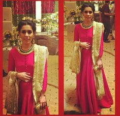 Solid hot pink gown | Ali Xeeshan