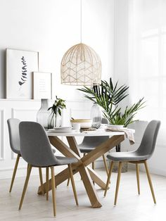 Pack mesa Cross blanco-natural y 4 sillas Wave 4 Chair Dining Table, Dining Nook, Dining Room Design, Dining Room Chairs, Scandinavian Dining Table, Scandinavian Interior, Decoration, Living Room Decor, Interior Decorating