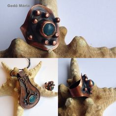 Riveted ring and pendant made from copper sheet and angelite. Made by Gedő Mária.