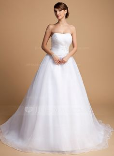 Ball-Gown Sweetheart Chapel Train Organza Wedding Dress With Ruffle Beading Appliques Lace Sequins (002014703) - JJsHouse