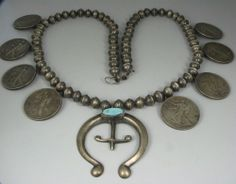 Vntg. Navajo Slvr Bead & US Coin Naja Necklace w/Turquoise