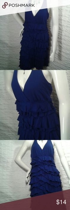 Sale!!Express ruffle halter dress Pretty blue ruffles make this dress so feminine and cute. Cotton / modal blend gives it a little stretch.  Halter tie neck with open back. Nice! Express Dresses