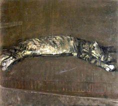 """""""Sleeping Cat"""" by Ruskin Spear."""