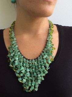 Jade Necklace  Green Jade Necklace  Green Jade Bib by EasternVibes