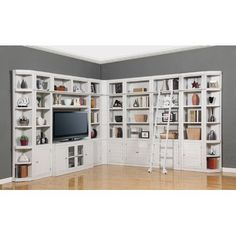 Parker house boca corner library bookcase wall unit with desk in cottage white finish in Built In Shelves, Glass Shelves, Built Ins, Wall Shelves, Shelving, Floor To Ceiling Bookshelves, House Shelves, Book Shelves, Desk Wall Unit