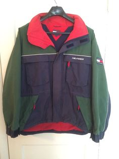 vtg 90s Tommy Hilfiger Green Rain Coat Windbreaker Nylon Jacket Parka sailing XL #TommyHilfiger #Windbreaker