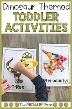 Dinosaur activities are all the rage in our house! My busy toddler loved all of these dinosaur themed activities! Dinosaur Theme Preschool, Dinosaur Activities, Toddler Learning Activities, Preschool Activities, Motor Activities, Dinosaur Land, Infant Activities, Lesson Plans For Toddlers, Kindergarten Lesson Plans