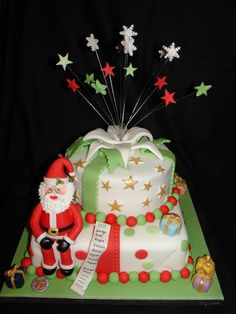 Santa Surprise Fondant Cake - Our Family's Christmas Cake (Dec 2011). Made Santa, Gifts, Plate of biscuits/cookies from Fondant/Gumpaste. Used Royal Icing to pipe Santa's beard.