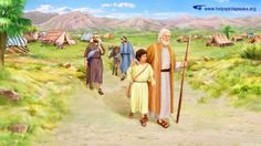 """Abraham on his journey to offer Isaac  """"'And Abraham rose up early in the morning, and saddled his ass, and took two of his young men with him, and Isaac his son, and split the wood for the burnt offering, and rose up, and went to the place of which God had told him' (Gen 22:3)"""" 