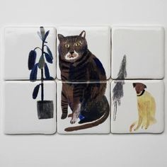 Where the Wild Things Are: Tiles from Laura Carlin.lovely (as I mentioned before - Laura Carlin rules) Laura Carlin, Illustration Art, Illustrations, Coffee Illustration, Image Chat, Tile Murals, Cat Dog, Baboon, Decorative Tile