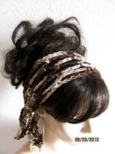 Leopard Dark Brown Hand Crochet Gypsy Style Hair Band by byKEONA, $10.00