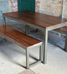 Edge Walnut Dining Set – Table & 2 Benches