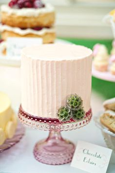 pink hobnail wedding cake stand from Sweet and Saucy Supply Shop via JunebugWeddings.com