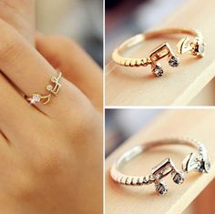 $0 FREE - Musical Note Adjustable Ring - 14K Gold Plated and Silver Plated with Rhinestones  Adjustable, One size fits all