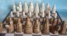 Complete medieval chess set discovered in 1831 on the Isle of Lewis in the Outer Hebrides, Scotland.