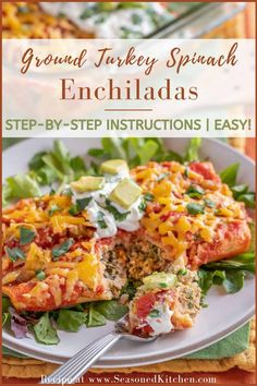 Turkey Spinach Enchiladas are easy to prepare with readily available ingredients, making them perfect for busy night dinner. These turkey enchiladas are moist, cheese-y, satisfying, and not too heavy - with just the right amount of spice. Never made enchiladas before? Then you're in the right place, because my step-by-step instructions will guide you through the process and ensure you have fun! #groundturkeyenchiladas #turkeyenchiladasrecipe #mexicandishes #easyenchiladas #seasonedkitchen Night Dinner Recipes, Dinner Ideas, Ground Turkey Enchiladas, Spinach Enchiladas, Mexican Dishes, Turkey Recipes, Original Recipe, Dinner Plates, Main Dishes