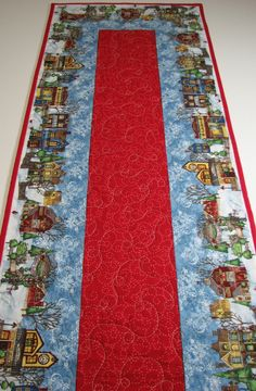 Quilted Table Runner , Christmas Village , Red and Blue by VillageQuilts on Etsy