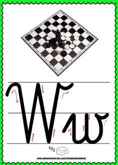 Litera Ww- plansza demonstracyjna FREEEE Alphabet, Montessori, Asia, Yarns, Double Deck Bed, Therapy, Alpha Bet