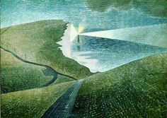 Beachy Head is one of Eric Ravilious' stunning coastal views in East Sussex. Available online or in-store at The Art Pantry, Eastbourne, East Sussex. David Hockney, Landscape Art, Landscape Paintings, Landscape Drawings, Landscape Prints, Landscape Illustration, Landscape Architecture, Landscape Photography, Belle Tout Lighthouse
