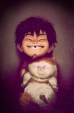 Little Hiro and Mochi cat