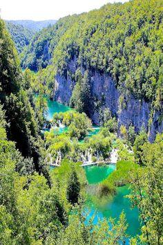 The emerald green lakes of Plitvice Lakes Croatia - a UNESCO world heritage site.