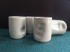 Handprint mug in white by mud + stone White Ceramics, Tumbler, Mugs, Tableware, Stone, Design, Drinkware, Dinnerware, Cups