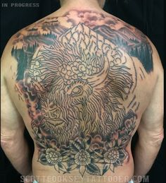 american traditional buffalo and flowers back piece tattoo in progress by scott cooksey of lone star tattoo in dallas, texas and godspeed tattoo in breckenridge, colorado. @scottcookseytattooer