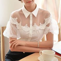 Cheap women short sleeve blouses, Buy Quality women build directly from China women plus size blouses Suppliers: Original New 2016 Brand Blusas Summer Plus Size Lantern Sleeve Slim Vintage Short Sleeve White Embroidery Blouse Women Wholesale Pretty Outfits, Beautiful Outfits, Diy Clothes, Clothes For Women, Abaya Style, Fashion Details, Fashion Design, Mode Inspiration, Blouse Designs