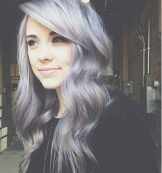 Women Wavy Hair Silver Gray Hair Dye