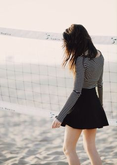 striped crop + skater skirt