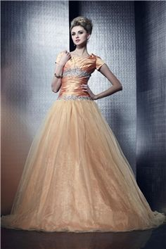 Ball Gown Scoop Neckline With Cap Sleeves Dashas Prom Dress & Prom Dresses on sale