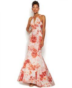 Adrianna Papell Rose-Print Keyhole Mermaid Gown   macys.com