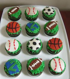 sports birthday cupcakes